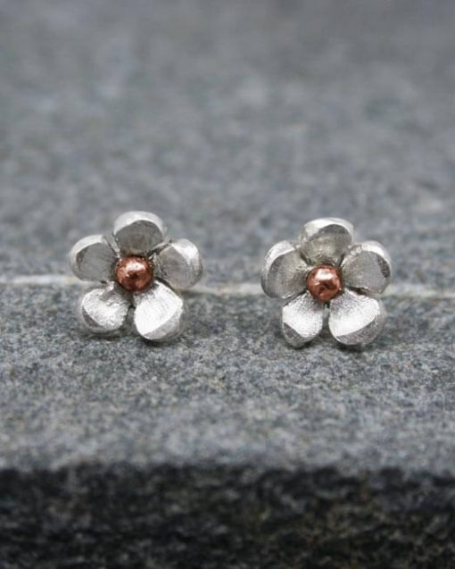 Handmade silver and copper flower stud earrings