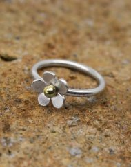Handmade Silver flower ring with brass bead