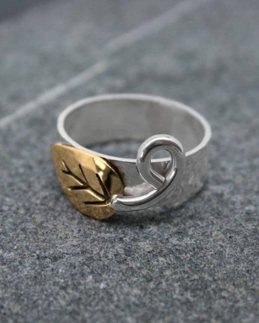 Brass and silver leaf ring with scorpion tail tendril