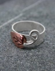 Copper and silver leaf ring with scorpion tail tendril