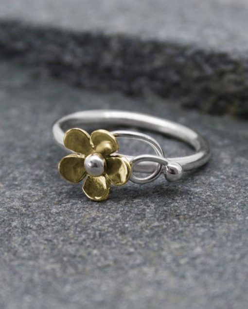 Handmade bronze and silver daisy ring