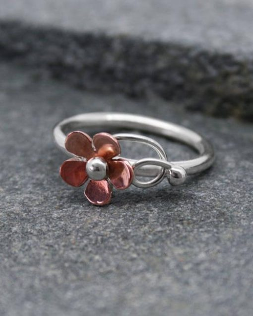 Handmade copper and silver daisy ring