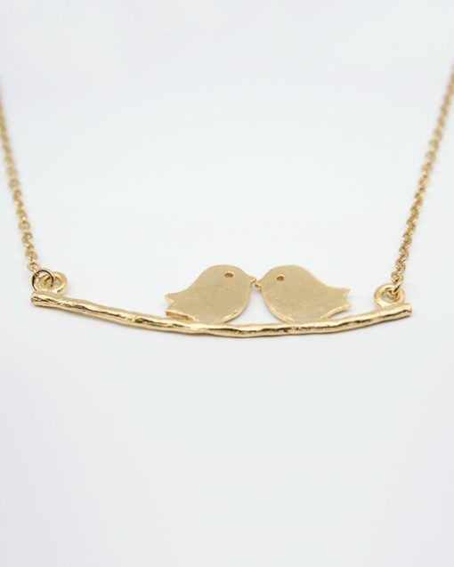 Two birds on a branch necklace gold plated