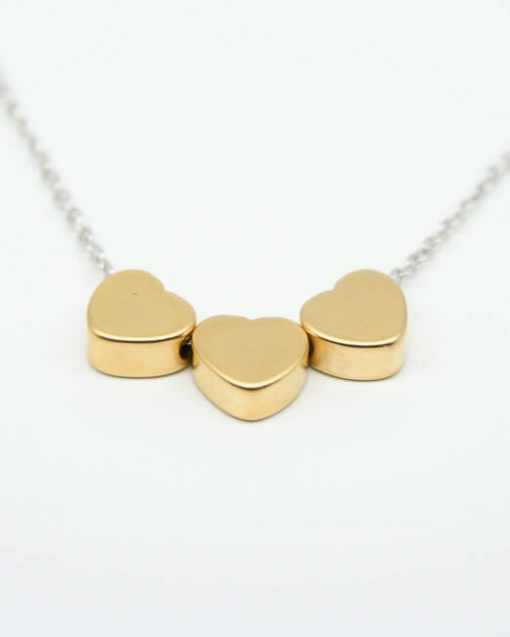 Three heart necklace gold plated