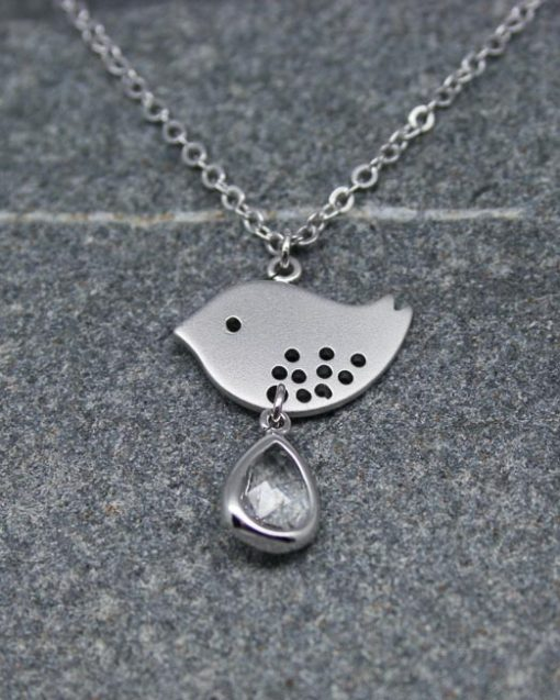 Lovebird with crystal drop necklace 1