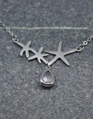 Starfish necklace with crystal drop