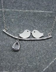 Lovebird necklace with crystal drop