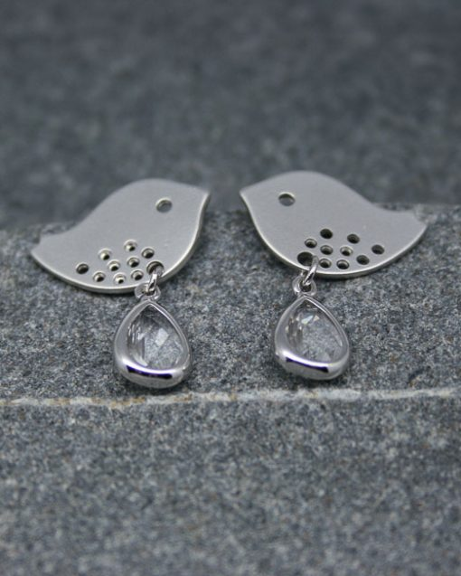 Lovebird and crystal drop earrings,