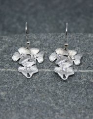 Flower and crystal drop earrings