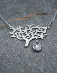 Tree of life and crystal drop necklace