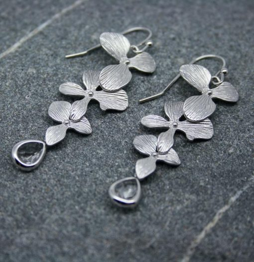 Orchid flower and crystal earrings