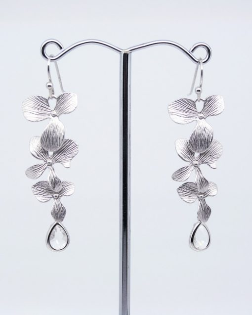 Orchid flower and crystal earrings 2