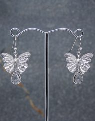 Butterfly earrings with crystal drops