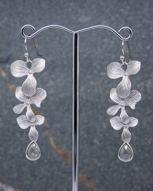 Orchid flower and crystal earrings 1