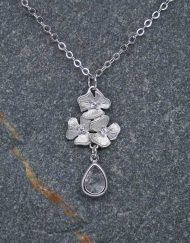 Flower and crystal drop necklace