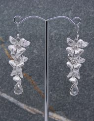 Hibiscus flower and crystal drop earrings