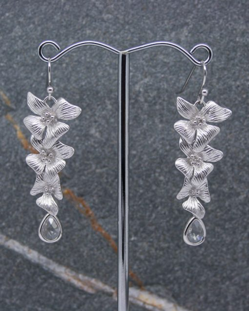 Hibiscus flower and crystal drop earrings