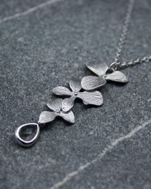 Orchid and crystal necklace 2