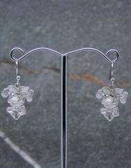 Flower and crystal drop earrings