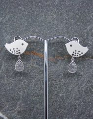 Lovebird and crystal drop earrings,