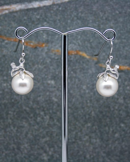 hummingbird pearl drop earrings