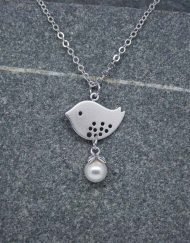 Lovebird and pearl drop necklace