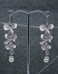 Orchid flower and pearl earrings
