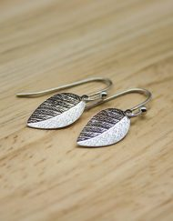 Silver plate leaf earrings
