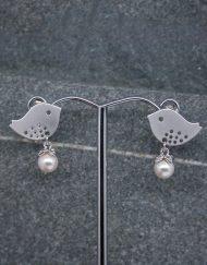 Lovebird and pearl earrings