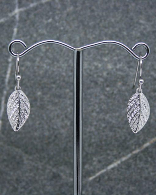 Silver plate leaf earrings