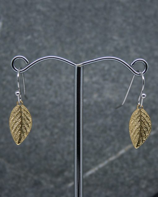 Gold plate leaf earrings