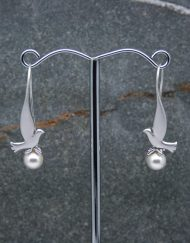 Dove and pearl drop earrings