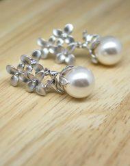 flower & hummingbird pearl drop earrings
