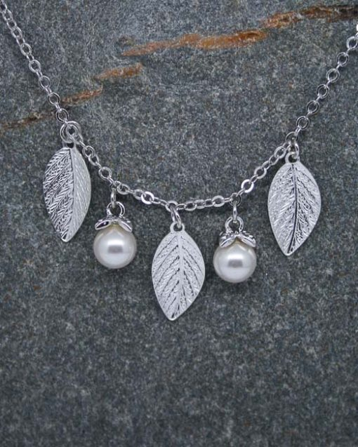 Pearl and leaf silver plated necklace