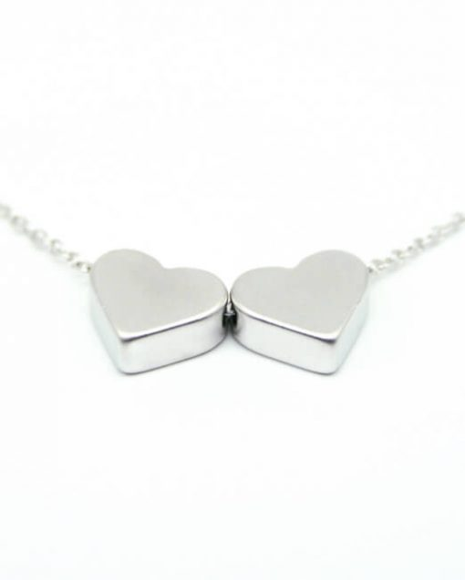 Two heart necklace rhodium plated
