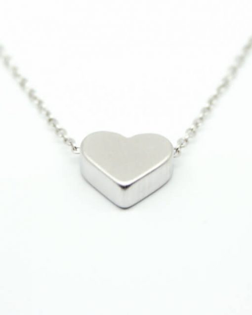 Heart necklace rhodium plated