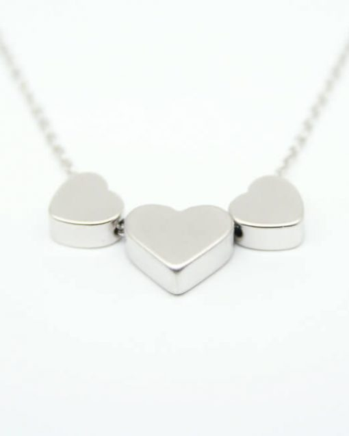 Three heart necklace rhodium plated