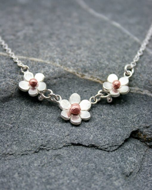 Handmade silver and copper three flower daisy necklace