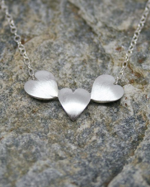 Handmade three sterling silver hearts necklace 3