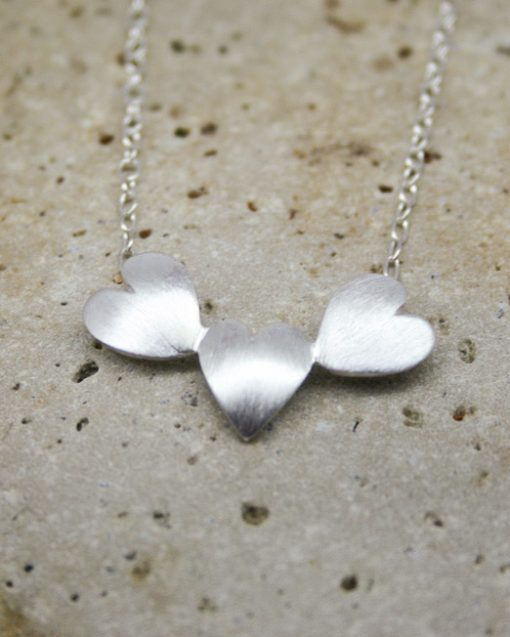 Handmade three sterling silver hearts necklace 2