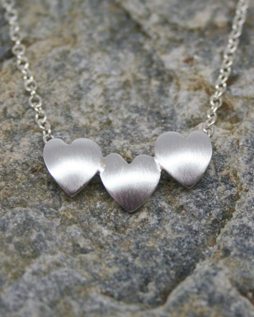 Handmade three silver hearts necklace