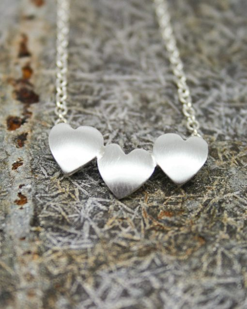 Handmade three sterling silver hearts necklace 1