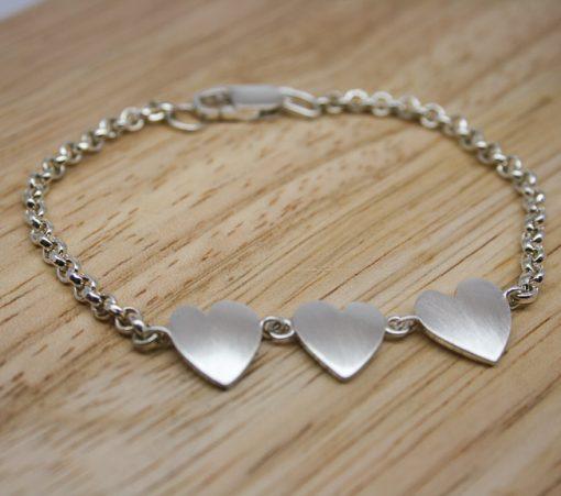 Handmade sterling silver heart bracelet 1