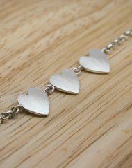 Romantic silver three heart bracelet