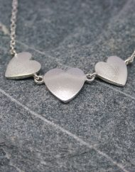 Romantic silver three heart necklace