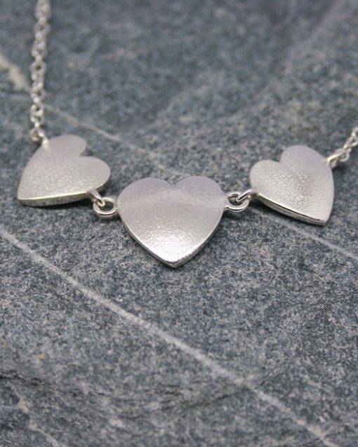 Romantic silver three heart necklace