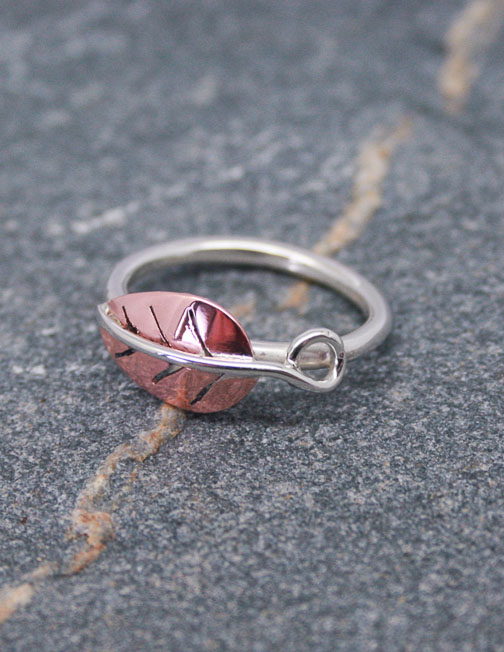 Silver ring with single copper leaf and silver stem
