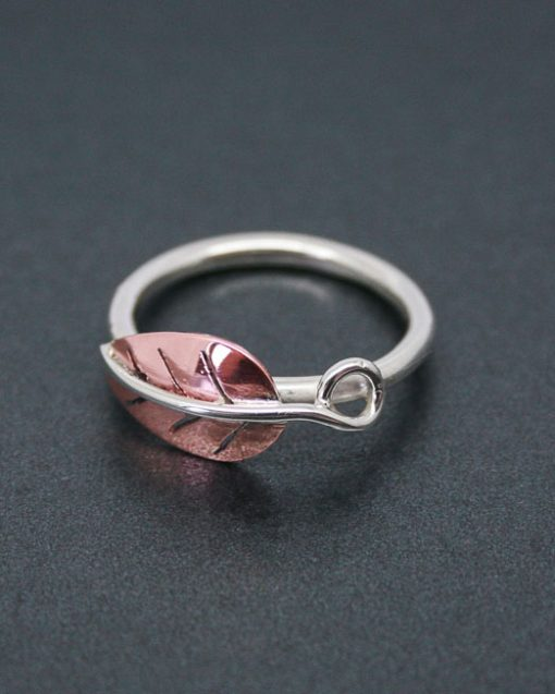 Sterling silver and copper leaf ring 1