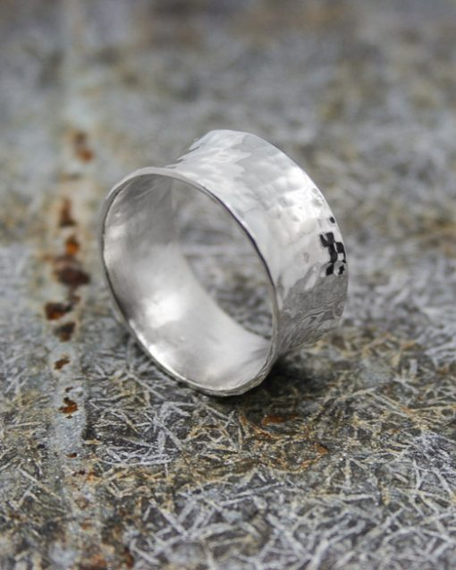 Wide concave hammered silver ring