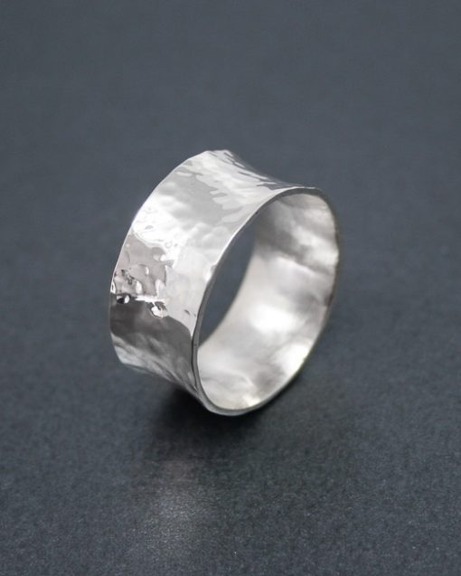 Wide concave sterling silver ring 1